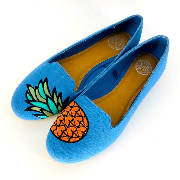 SO Pineapple Print Blue Canvas Flats